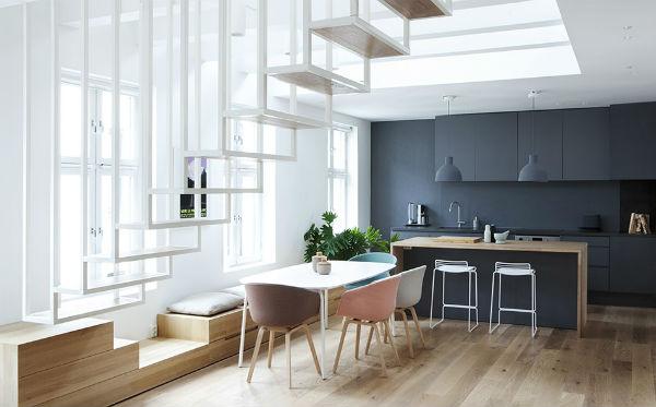 cucina nero opaco e sala, stile nordico
