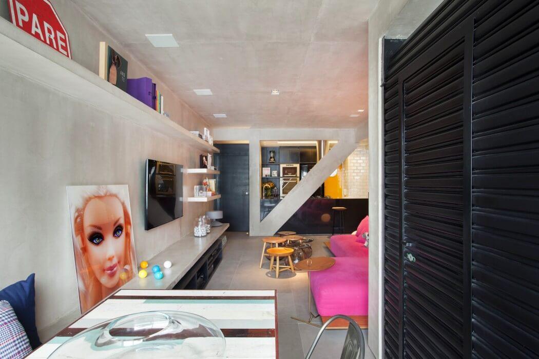 cucina e soggiorno in stile pop e industrial
