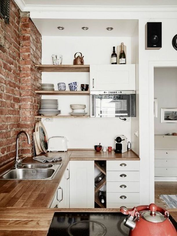 PIN LOVE #4: Mensole di legno per una cucina senza pensili ...