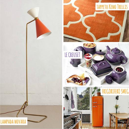 Arredi arancioni e color prugna