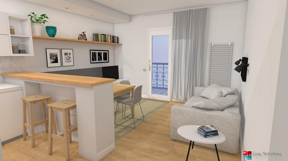 progettazione di un soggiorno moderno con cucina a vista