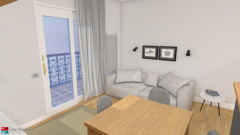 progettazione soggiorno moderno con cucina a vista