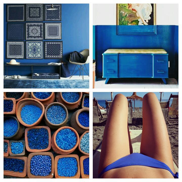 Moodboard di arredi in blu per la casa