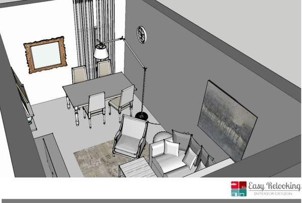 Progettazione soggiorno in stile shabby chic