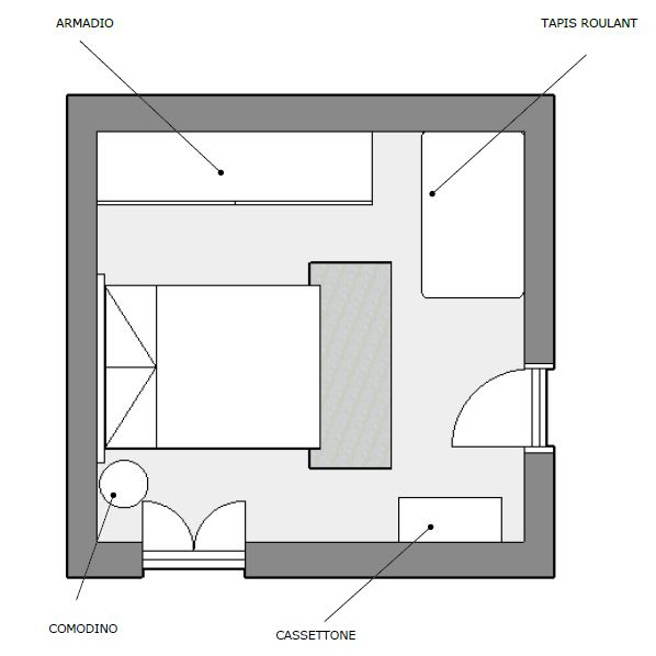 Camera da letto in stile shabby - progetto