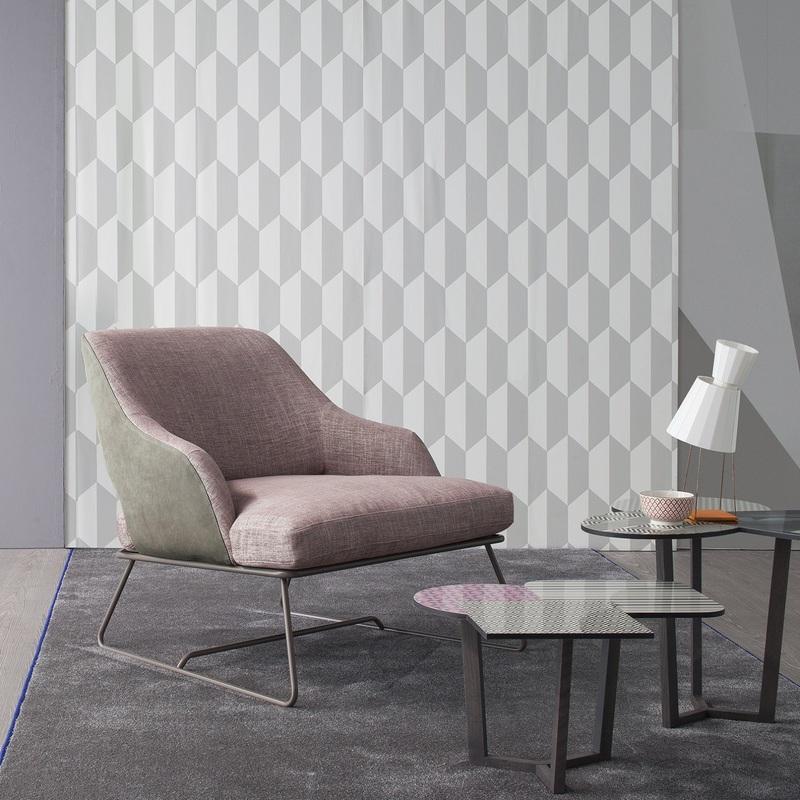 Poltrona rosa quartz e grigio