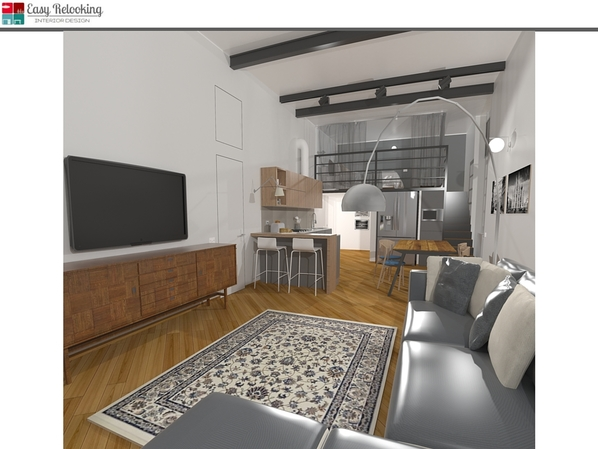 Progettazione interni stile industrial loft