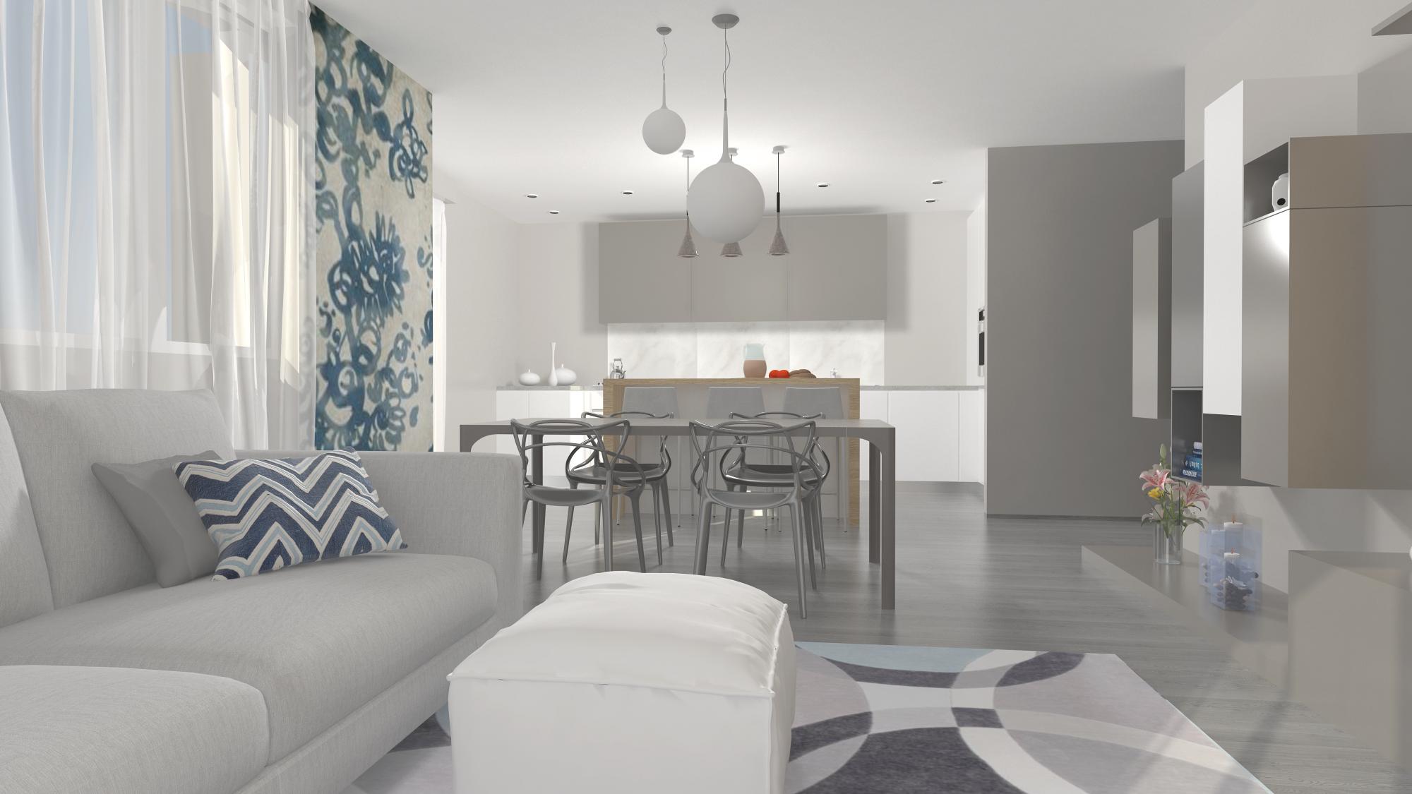 Villa indipendente per una giovane famiglia easyrelooking - Salone e cucina insieme ...
