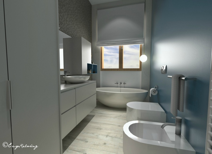 Ultimo piano con soffitti spioventi easyrelooking - Rendering bagno ...