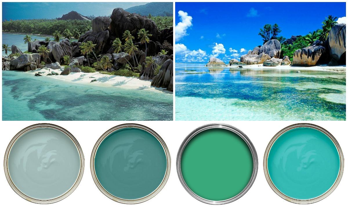 Pareti azzurre e un tocco di verde in stile seychelles for Soggiorno dubai