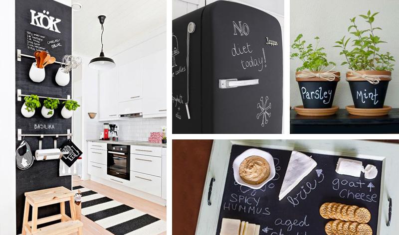 10 idee per utilizzare la pittura effetto lavagna easyrelooking - Lavagna magnetica da cucina ...