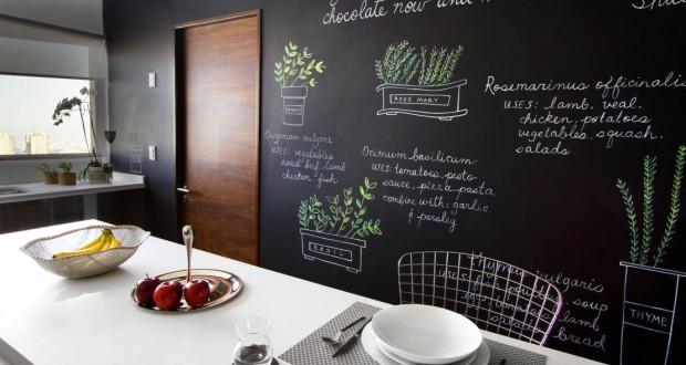 10 idee per utilizzare la pittura effetto lavagna - Parete lavagna cucina ...