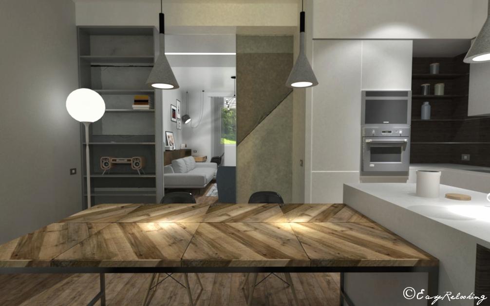 Cucina e soggiorno stile industrial contemporaneo - Muretto tra cucina e soggiorno ...