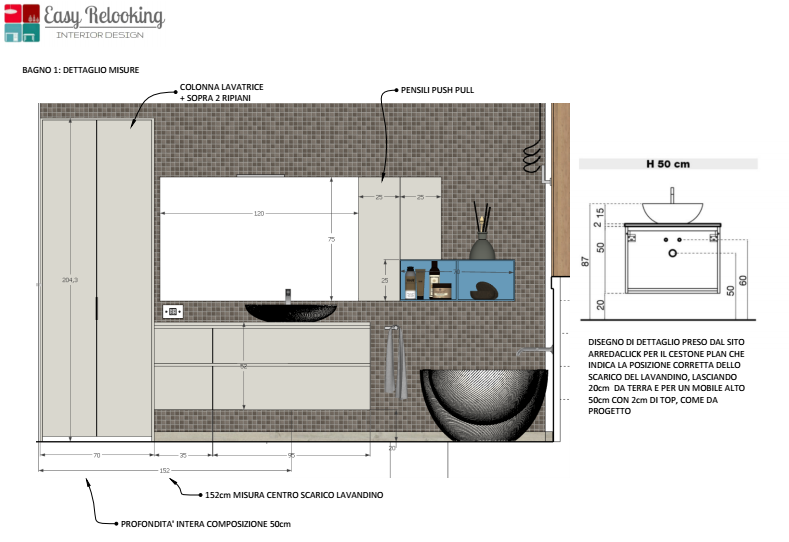 Bagno con colonna lavatrice: il progetto di Paolo - easyrelooking