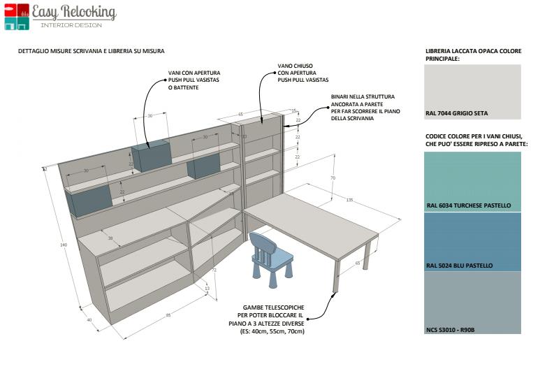 Cameretta azzurra con una scrivania per ogni et for Planimetrie virtuali per le case