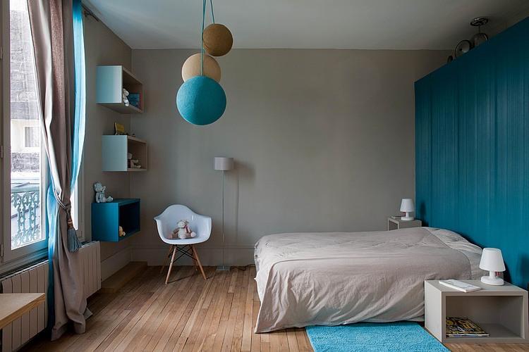 Arredamento camera da letto, colori del blu e grigio camera da letto