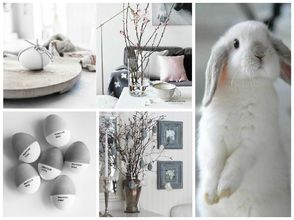 Pasqua decorazioni in grigio