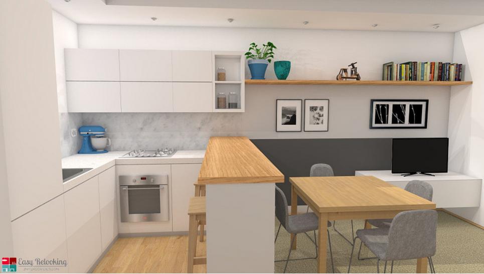 Progettazione di un soggiorno moderno con cucina a vista ...