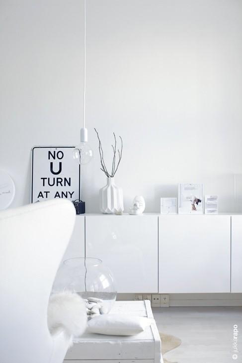 Arredare soggiorno in total white