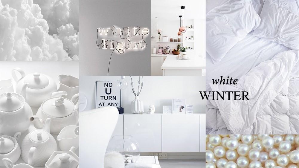 Moodboard arredi casa total white