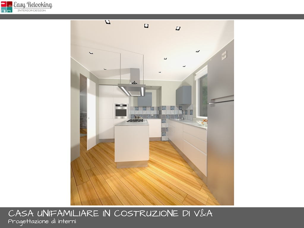 Unifamiliare di V&A: progettazione soggiorno con cucina separata - easyrelooking