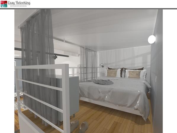 Camera da letto su soppalco in loft