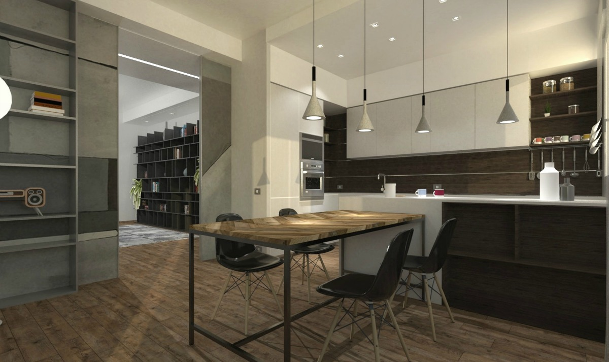 Luci Led Per Cucina contemporary industrial-style kitchen and living room