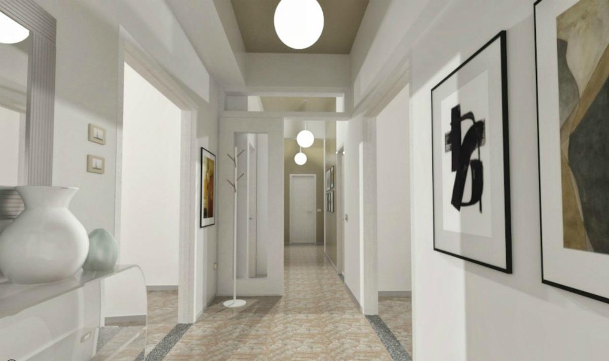 Soffitto Travi A Vista Bianco corridoio lungo e stretto: colore e accessori - easyrelooking